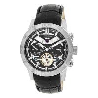 Heritor Automatic Hamilton Semi-Skeleton Leather-Band Watch - Silver