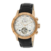 Heritor Automatic Hannibal Semi-Skeleton Leather-Band Watch - Rose Gold/Black