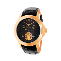 Heritor Automatic Windsor Semi-Skeleton Leather-Band Watch - Rose Gold/Silver
