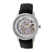 Heritor Automatic Ryder Skeleton Leather-Band Watch - Brown/White