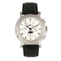 Heritor Automatic Kingsley Leather-Band Watch w/Day/Date - Silver/Black
