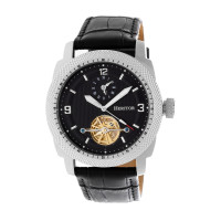 Heritor Automatic Helmsley Semi-Skeleton Bracelet Watch - Silver/Black