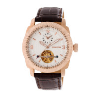 Heritor Automatic Helmsley Semi-Skeleton Leather-Band Watch - Rose Gold/Black
