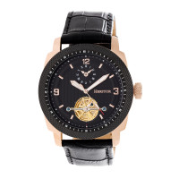 Heritor Automatic Helmsley Semi-Skeleton Bracelet Watch - Rose Gold/Black