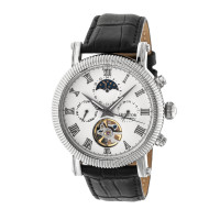 Heritor Automatic Winston Semi-Skeleton Leather-Band Watch - Gold/White