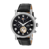 Heritor Automatic Winston Semi-Skeleton Leather-Band Watch - Rose Gold/White