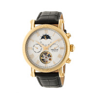 Heritor Automatic Winston Semi-Skeleton Leather-Band Watch - Rose Gold/Black