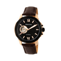 Heritor Automatic Bonavento Semi-Skeleton Leather-Band Watch - Black