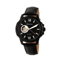 Heritor Automatic Bonavento Semi-Skeleton Leather-Band Watch - Rose Gold/Black