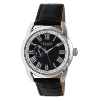Heritor Automatic Marcus Marbled-Dial Leather-Band Watch - Silver/Black