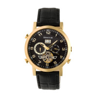 Heritor Automatic Edmond Leather-Band Watch w/Date - Rose Gold/Black