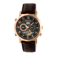 Heritor Automatic Edmond Leather-Band Watch w/Date - Gold/Silver