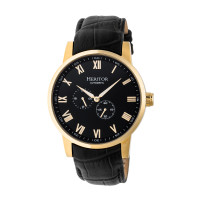 Heritor Automatic Romulus Leather-Band Watch - Rose Gold/Black