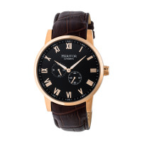 Heritor Automatic Romulus Leather-Band Watch - Gold/Black