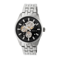 Heritor Automatic Stanley Semi-Skeleton Leather-Band Watch - Gold/Silver