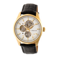 Heritor Automatic Stanley Semi-Skeleton Leather-Band Watch - Silver/Black