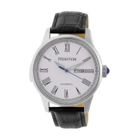 Heritor Automatic Prescott Leather-Band Watch w/ Day/Date - Gold/Black