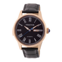 Heritor Automatic Prescott Leather-Band Watch w/ Day/Date - Silver/Black
