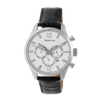 Heritor Automatic Benedict Leather-Band Watch w/ Day/Date - Black