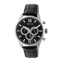 Heritor Automatic Benedict Leather-Band Watch w/ Day/Date - Black/Dark Brown