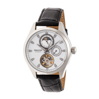 Heritor Automatic Sebastian Semi-Skeleton Leather-Band Watch- Rose Gold/White