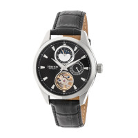 Heritor Automatic Sebastian Semi-Skeleton Leather-Band Watch- Black