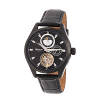 Heritor Automatic Sebastian Semi-Skeleton Leather-Band Watch- Silver/Black