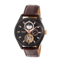 Heritor Automatic Sebastian Semi-Skeleton Leather-Band Watch- Gold/Black