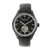 Heritor Automatic Crew Semi-Skeleton Leather-Band Watch - Gold/Black