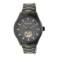 Heritor Automatic Crew Semi-Skeleton Leather-Band Watch - Black