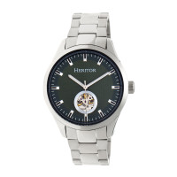 Heritor Automatic Crew Semi-Skeleton Bracelet Watch - Silver/Navy