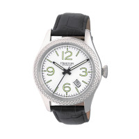 Heritor Automatic Barnes Leather-Band Watch w/Date - Silver/Black