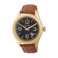 Heritor Automatic Barnes Leather-Band Watch w/Date - Rose Gold/Black