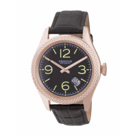 Heritor Automatic Barnes Leather-Band Watch w/Date - Gold/Black