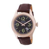 Heritor Automatic Barnes Leather-Band Watch w/Date - Gold/Brown