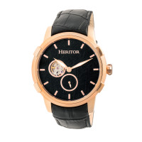 Heritor Automatic Callisto Semi-Skeleton Leather-Band Watch - Black