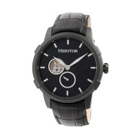 Heritor Automatic Callisto Semi-Skeleton Leather-Band Watch - Rose Gold/Black