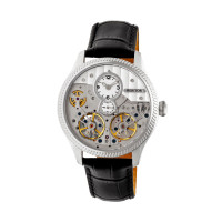 Heritor Automatic Winthrop Leather-Band Skeleton Watch - Black