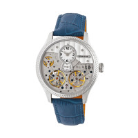 Heritor Automatic Winthrop Leather-Band Skeleton Watch - Rose Gold/Silver