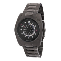 Heritor Automatic Daniels Semi-Skeleton Leather-Band Watch - Silver/Black