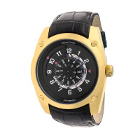 Heritor Automatic Daniels Semi-Skeleton Leather-Band Watch - Black
