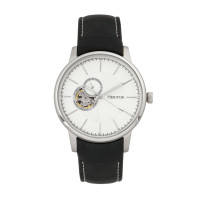 Heritor Automatic Landon Semi-Skeleton Leather-Band Watch - Silver/Black