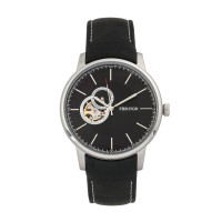 Heritor Automatic Landon Semi-Skeleton Leather-Band Watch - Silver