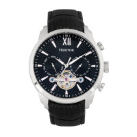 Heritor Automatic Arthur Semi-Skeleton Leather-Band Watch w/ Day/Date - Silver/Blue