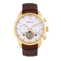 Heritor Automatic Arthur Semi-Skeleton Leather-Band Watch w/ Day/Date - Gold/Black