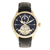 Heritor Automatic Gregory Semi-Skeleton Leather-Band Watch - Rose Gold/Black