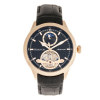 Heritor Automatic Gregory Semi-Skeleton Leather-Band Watch - Silver/Black