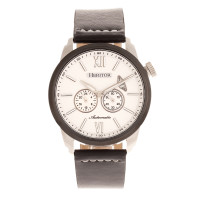 Heritor Automatic Wellington Leather-Band Watch - Camel/Rose Gold/White