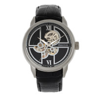 Heritor Automatic Sanford Semi-Skeleton Leather-Band Watch - Rose Gold/Brown