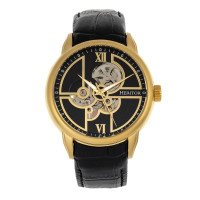 Heritor Automatic Sanford Semi-Skeleton Leather-Band Watch - Black/Brown